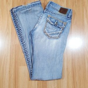 Distressed BKE Boot Cut Jeans